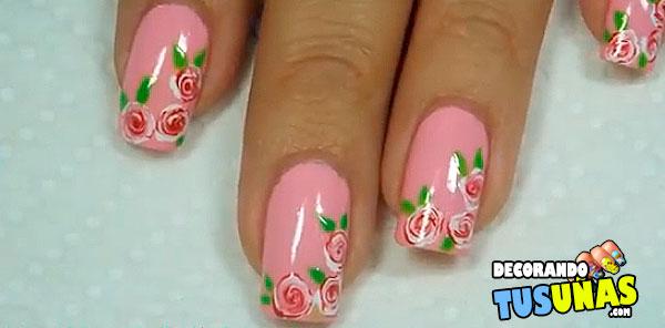 Fácil diseño de uñas con rosas blancas y rojas - Decorando ...